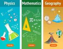 Maths fondamentales Sujet de physique La science de géographie Matières d'enseignement illustration libre de droits