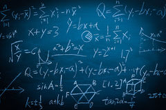 Maths formulas on chalkboard background Stock Image