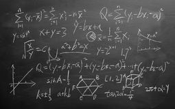 Maths formulas on chalkboard background Stock Photos