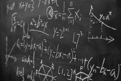 Maths formulas on chalkboard background Royalty Free Stock Image