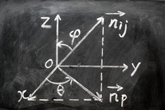 Maths formulas written on blackboard Stock Photos