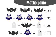 Maths game with pictures halloween theme for children, middle level, education game for kids, preschool worksheet activity, task vector illustration