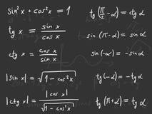 Maths lesson. Hand written doodle illustration - Trigonometric functions. Mathematics scientific education Royalty Free Stock Photo