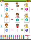 Maths odejmowania gra z zwierzętami gospodarskimi Zdjęcie Stock