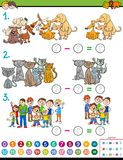 Maths subtraction educational game for kids. Cartoon Illustration of Educational Mathematical Subtraction Puzzle Game for Preschool and Elementary Age Children Royalty Free Stock Image