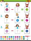 Maths subtraction game with kid characters Stock Photo