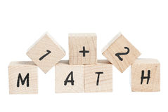 Free Maths Sum With Wooden Blocks. Royalty Free Stock Photography - 29340897