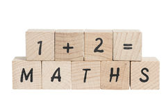 Maths Sum With Wooden Blocks. Stock Photos