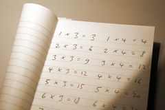 Maths times tables (sepia effect) Stock Photo