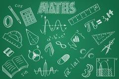 Maths tirées par la main réglées Craie sur le tableau noir Photos stock