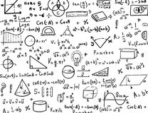 Maths and Trigonometry hand drawn formulas Background Stock Image