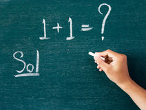 Maths written by white chalk on the blackboard background Royalty Free Stock Photos