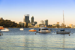 Matilda Bay and Perth, Australia skyline Royalty Free Stock Image