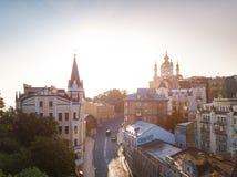 Matin à Kiev Kiyv Ukraine Descente du ` s d'Andrew Château de Richard église du ` s de Lionheart et de StAndrew Photo libre de droits