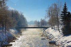 Matin à la station de sports d'hiver de montagnes mauvais Hofgastein - Autriche Photos stock