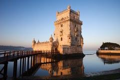 Matin à la tour de Belem à Lisbonne photo stock