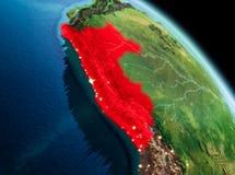 Matin au-dessus du Pérou sur terre Photo stock