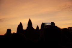 Matin au temple d'Angkor Photos stock