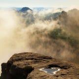 Matin bleu, vue au-dessus de roche à la vallée profonde complètement du paysage rêveur de ressort de brume légère dans l'aube Photographie stock