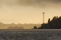 Matin brumeux de Seattle Images libres de droits