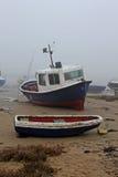 Matin brumeux, plage d'Alnmouth, le Northumberland image libre de droits