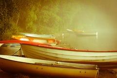 Matin brumeux tôt en bas du lac images libres de droits