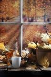 Matin chaud d'automne de boissons Photos libres de droits