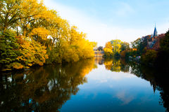Matin d'automne à Bruges au lac de l'amour, ou Minnewater, Belgique Photos libres de droits