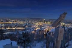 Matin d'hiver d'horizon d'Oslo photographie stock libre de droits