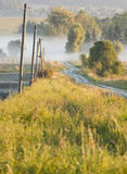 Matin dans la campagne, chemin de champ, vertical Photo stock