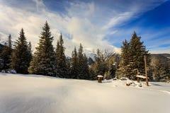 Matin dans la montagne carpathienne Image libre de droits