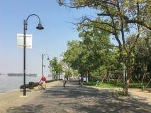 Matin dans la tache scénique de tourisme écologique est de lac wuhan Photographie stock libre de droits