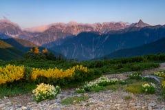 Matin dans les Alpes du nord photographie stock libre de droits