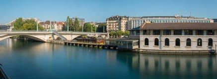 Matin de centre de la ville de Genève panoramique Image libre de droits