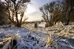 Matin de l'hiver dans les vallées de Yorkshire - Angleterre Photo stock