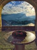 Matin de Noël au château saigné, Slovénie images libres de droits