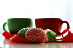 Matin de Pâques en vert et rouge Images stock