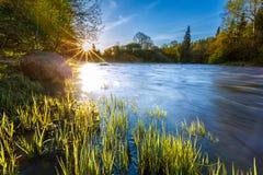Matin de ressort sur la rivière Image libre de droits