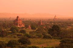 Matin du Bagan antique, Myanmar Birmanie Photo stock