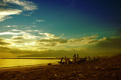 Matin en plage Photographie stock
