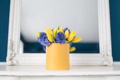 Matin ensoleillé de source Groupe de jacinthes bleues et de tulipes jaunes sur la table blanche Présent pour une fille Fleurit le Image stock