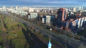 Matin ensoleillé en novembre au-dessus du secteur de Moscou St Petersburg, Russie clips vidéos
