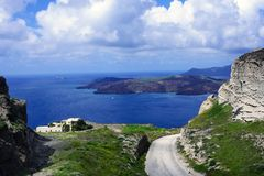 Matin ensoleill? d'?t? sur l'?le de Santorini, Gr?ce photo stock
