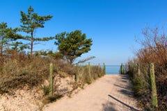 Matin froid d'automne de côte de mer baltique sur la plage Cordon coloré d'érosion seashore photo stock