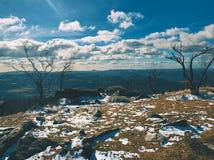 Matin froid et brumeux tôt à l'herbe de gelée sur la montagne, vue au-dessus d'herbe congelée et rochers aux arbres et à la colli Images libres de droits