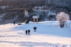 Matin gelé d'hiver sur la colline d'Ochodzita en montagnes de Beskid Slaski en Pologne Image stock