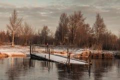 Matin givré sur le lac Images libres de droits