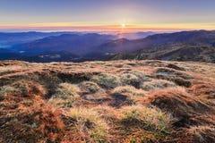 Matin incroyablement beau d'une aube brumeuse d'automne dans les montagnes III Images stock