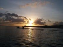 Matin Indonésie de mer de lanscape de lever de soleil beau photos stock