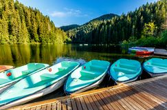Matin merveilleux d'été lac majestueux Lacul Rosu de montagne le lac rouge ou lac killer emplacement Evropa Carpathien oriental r photographie stock